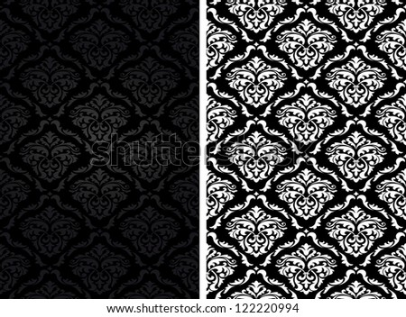 Vintage damask seamless backgrounds in two variations. Jpeg version also available in gallery - stock vector