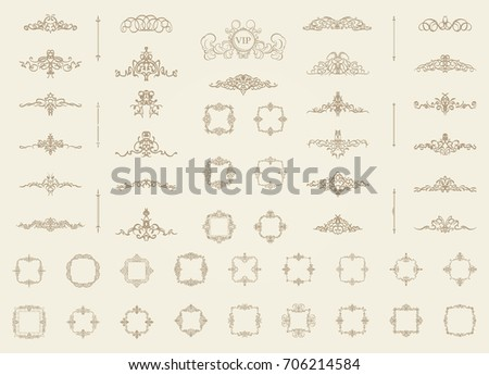 Vintage decor elements and wicker lines in vector. Decoration for logo, page, wedding album or restaurant menu in set. Calligraphic design elements
