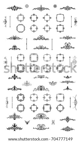Vintage decor elements and wicker lines in vector. Decoration for logos, page, wedding album or restaurant menu in set. Calligraphic design elements