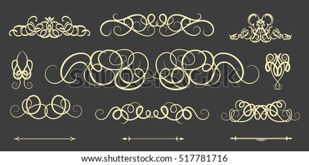 Vintage decor elements and wicker vector lines. Decoration of logos, page, wedding album, menu. Flourish set elegant contour. Classic ornamental motif. Calligraphic design elements. Medieval swirl