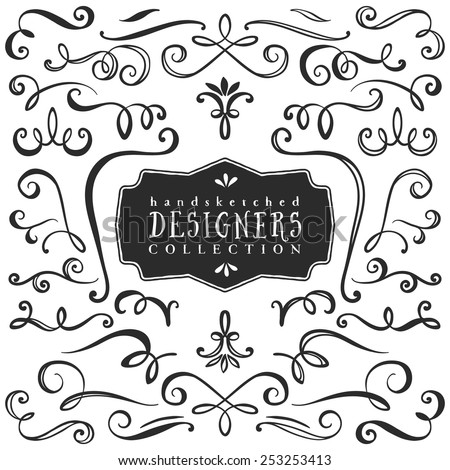 Vintage decorative curls and swirls collection. Hand drawn vector design elements