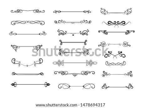 Vintage decorative dividers set. Calligraphic swirls, retro borders, ornament. Decoration concept. Vector illustrations for topics like web design, separator, ornate lines