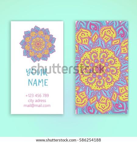 Vintage decorative elements. Business card vector. Vintage decorative elements mandala - Shutterstock ID 586254188