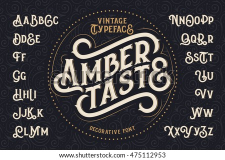 "Vintage decorative font named ""Amber Taste"" with label design and background pattern"