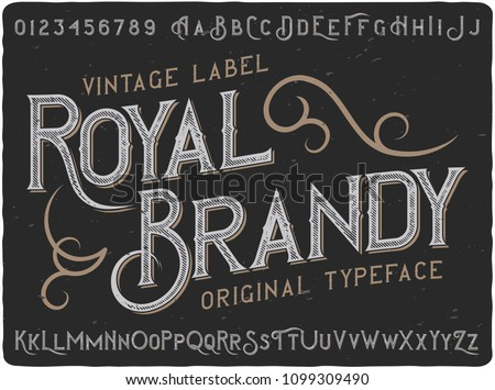 """Vintage decorative font named """"Royal Brandy"""". Good handcrafted western typeface for labels, t-shirts, posters, greeting cards etc."""