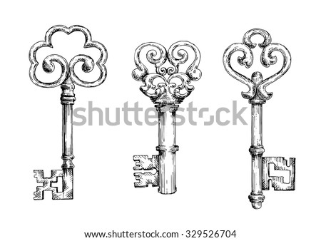 vintage decorative keys with