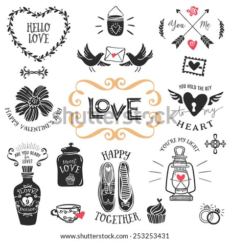 Vintage decorative love badges with lettering. Hand drawn vector design elements