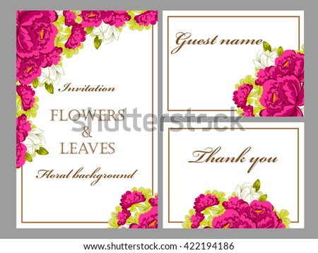 Vintage delicate invitation with flowers for wedding, marriage, bridal, birthday, Valentine's day. #422194186