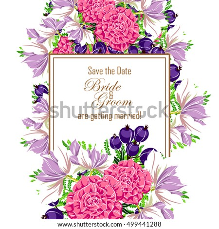 Vintage delicate invitation with flowers for wedding, marriage, bridal, birthday, Valentine's day. Romantic vector illustration. #499441288