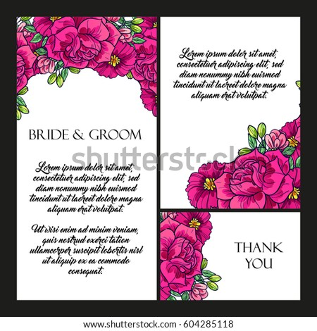 Vintage delicate invitation with flowers for wedding, marriage, bridal, birthday, Valentine's day. #604285118