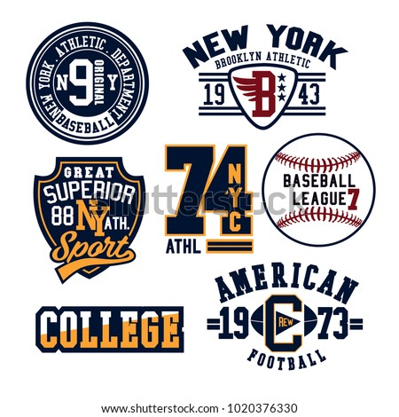 Vintage Denim print apparel set.Old school vector graphic for fashion and printing.New York, California,Brooklyn.Original badge,tee print.Vintage apparel.Retro artwork and typography.Big vector set.
