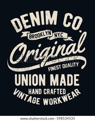 vintage denim typography for t