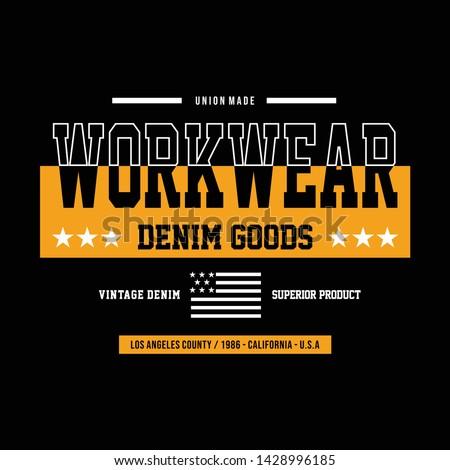 Vintage Denim typography, t-shirt graphics, vectors