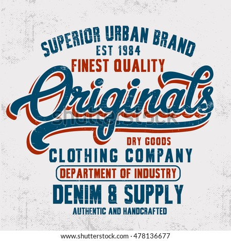 vintage denim typography  t