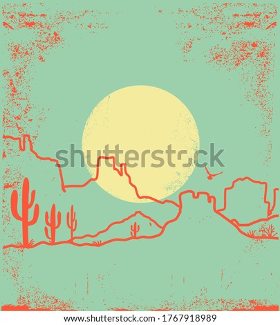 Vintage Desert landscape with Cactuses and Canyon. Arizona desert with yellow sun and cactuses silhouette on antique old paper texture