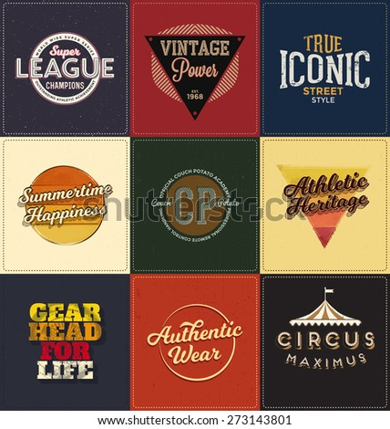 Vintage Design Collection - Retro Typographic Design Set - Classic look ideal for screen print shirt design