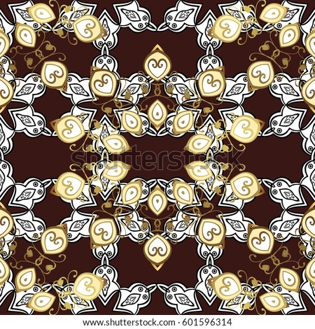 Vintage design element in Eastern style. Golden ornate illustration for wallpaper. Traditional arabic decor on brown background. Vector seamless pattern with floral ornament. Ornamental lace tracery. #601596314
