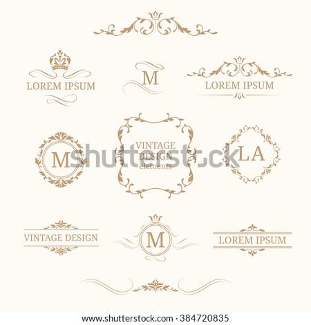 Vintage design elements and monograms. Decorative elements for invitations, menus, labels. Wedding monograms. Calligraphic elegant ornament.