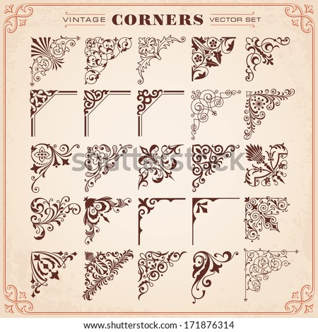 Vintage Design Elements Corners Vector