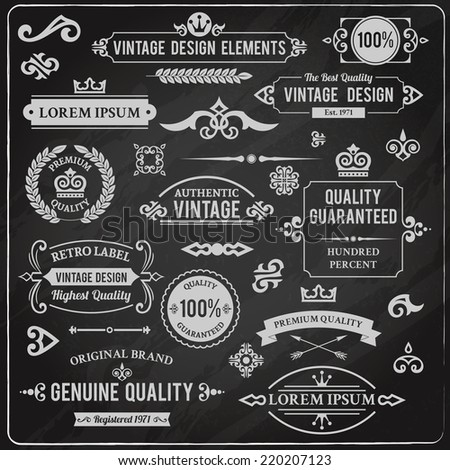 Vintage design elements frames and ornaments chalkboard decorative set isolated vector illustration