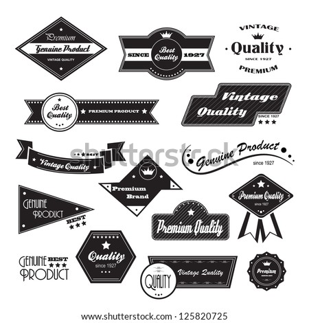 Vintage Design Elements. Labels In Retro And Vintage Style Isolated On White Background. Vector Illustration, Graphic Design.Lot Of Elements Useful For Design. Retro Vintage Styled Design.Logo Symbols