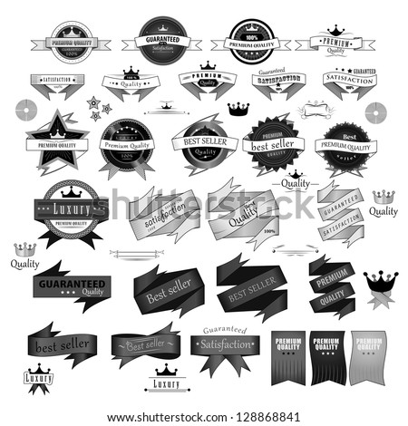 Vintage Design Elements. Labels In Retro And Vintage Style Isolated On White Background. Vector Illustration, Graphic Design.Lot Of Useful Elements. Collection Of Retro Vintage Styled, Logo Symbols