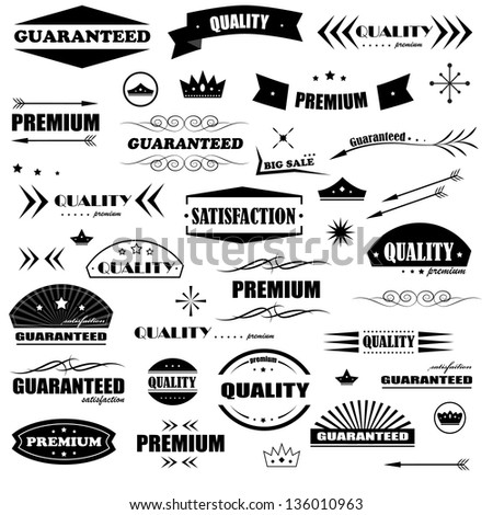 Vintage Design Elements. Labels In Retro And Vintage Style Isolated On White Background. Vector Illustration, Graphic Design Editable For Your Design. Styled Arrows Logo