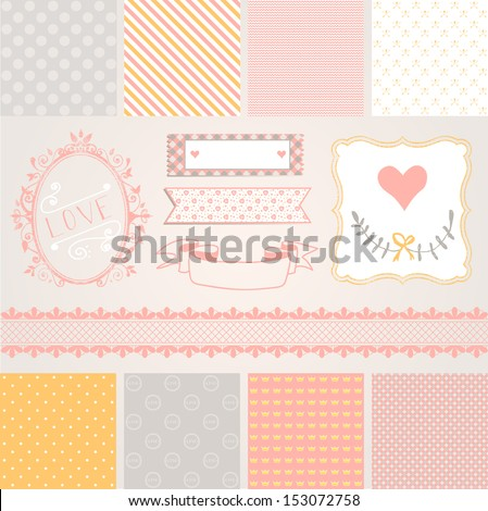 Vintage Design Elements pink and gray pattern frames and cute seamless backgrounds For design or scrap booking
