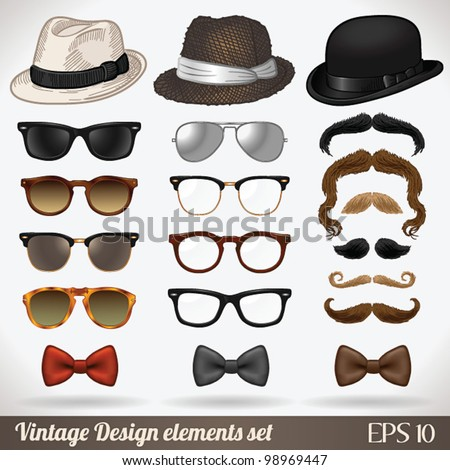 Vintage design elements set (hats/glasses/sunglasses/mustaches/bow ties) - vector illustration. Shadow and background are on separate layers. Easy editing.