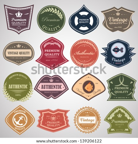 Vintage Design Elements Set. Labels In Retro And Vintage Style Isolated On Gray Background. Vector Illustration, Graphic Design.Lot Of Elements Useful For Design. Logo Symbols