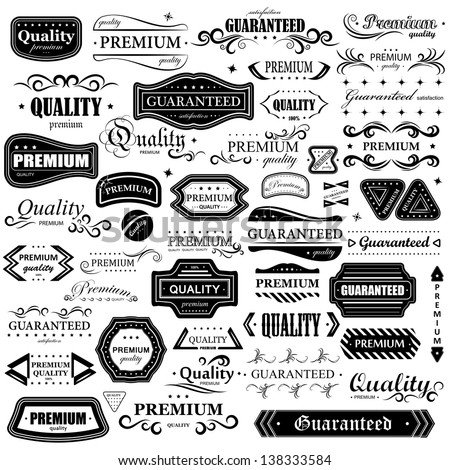 Vintage Design Elements - Set. Labels In Retro And Vintage Style Isolated On White Background. Vector Illustration, Graphic Design Editable For Your Design. Logo Elements
