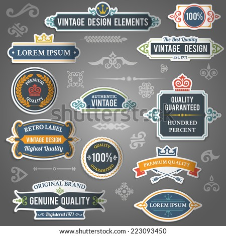 Vintage design elements stickers decorative set isolated vector illustration