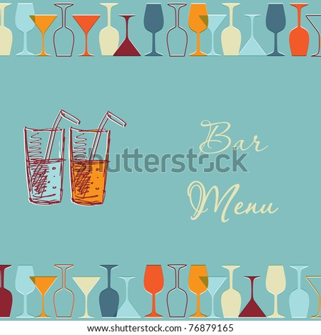 Vintage design for cocktail bar menu - stock vector