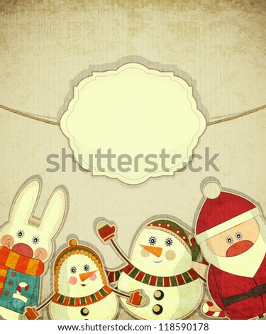Vintage design of Christmas and New Year's Postcard. Santa Claus, snowman and hare on a Vintage background. Vector illustration.