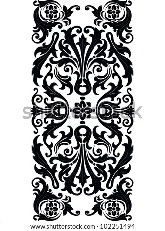 Vintage design swirling decorative floral elements