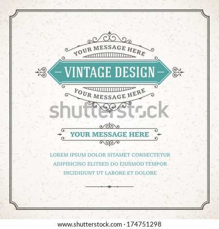 Vintage design template. Retro card and place for text.