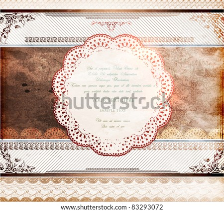 Vintage design template. Retro frames, ornaments.