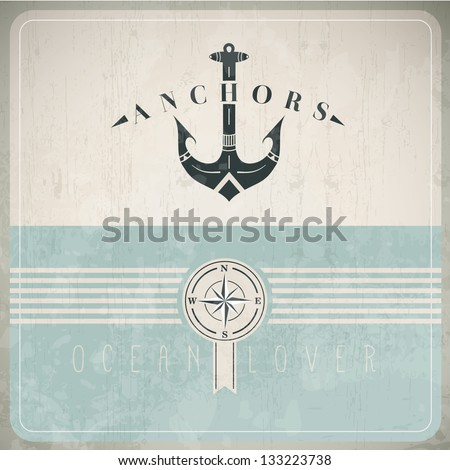 Vintage Design Template With Anchor - EPS10 Compatibility Required
