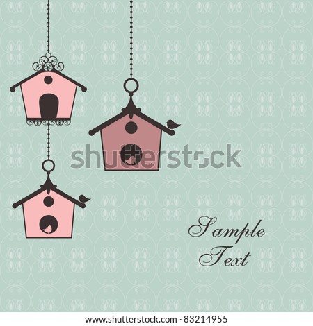 vintage design with birdhouses