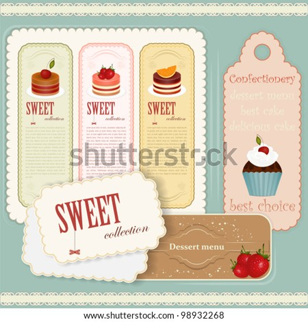 Vintage Dessert menu - set of labels - Vector illustration