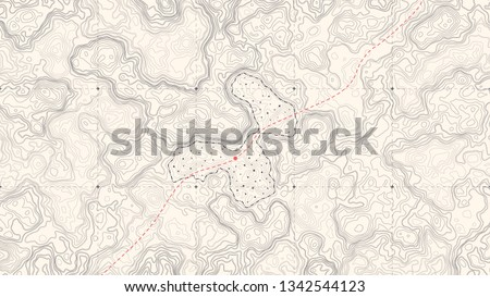 Vintage Detailed Contour Topographic Map Of Wild West Abstract Vector Background. Retro Outline Topographic Map Vector