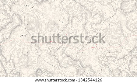 Vintage Detailed Contour Topographic Map Of Wild West Abstract Vector Background. Retro Outline Topographic Map Vector Foto stock ©