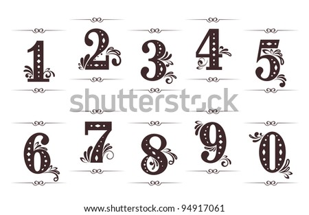 Vintage digits and numbers set with dividers isolated on white background. Jpeg version also available in gallery