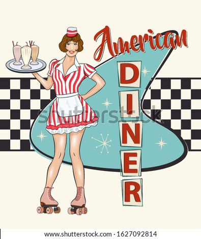 Vintage Diner metal sign in traditional American style with waitress on roller skates. Сток-фото ©