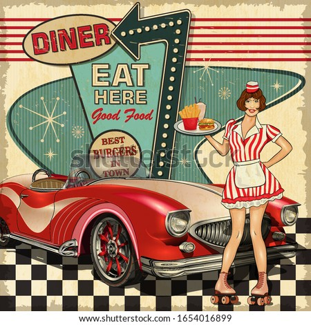 Vintage Diner poster in traditional American style with waitress on roller skates. Сток-фото ©