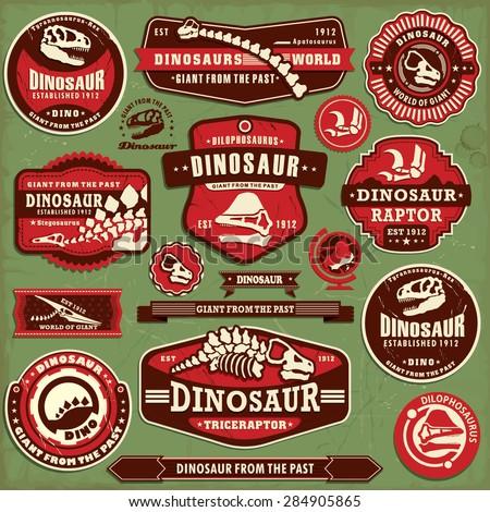 Vintage dinosaur label design set