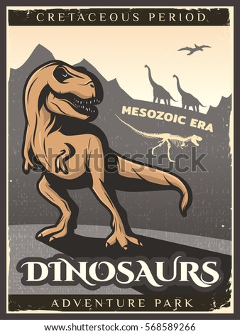 vintage dinosaur poster with...