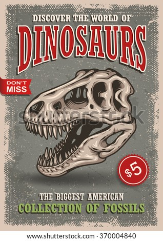 vintage dinosaurs poster with