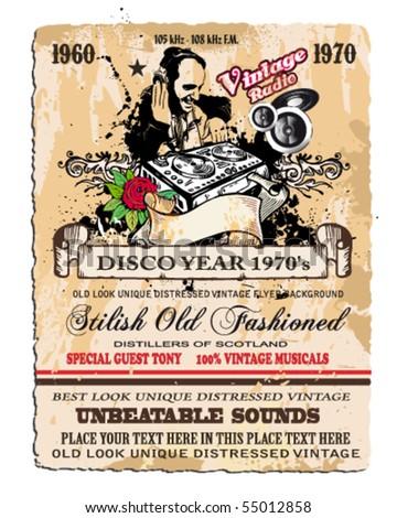 vintage disco flyer with dj