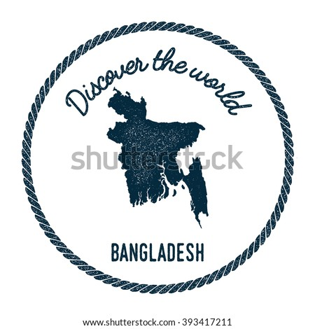 Vintage Discover the World Rubber Stamp with Bangladesh Map. Hipster Style Nautical Rubber Stamp of Bangladesh map with Round Rope Border. Vector Illustration.